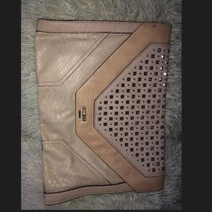 Baby pink Spike designed GUESS clutch